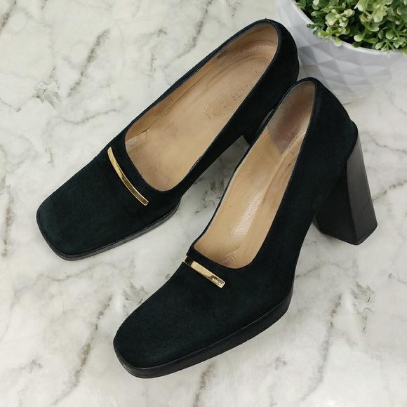 723065576793 Gucci Shoes - Gucci black suede square toe pumps Vintage